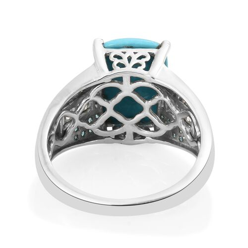 Arizona Sleeping Beauty Turquoise (Cush 5.40 Ct), Natural Cambodian Zircon and Malgache Neon Apatite Ring in Platinum Overlay Sterling Silver 6.500 Ct. Silver wt 5.88 Gms.