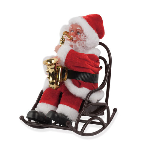 Home Decor - Singing Santa with Saxophone Toy (Size 22X19 Cm)