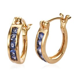 Burmese Blue Sapphire Earrings (with Clasp) in 14K Gold Overlay Sterling Silver 1.00 Ct.