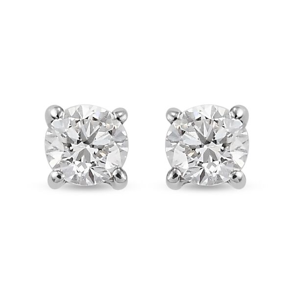 RHAPSODY 0.24 Ct Diamond Solitaire Stud Earrings in 950 Platinum IGI Certified VS EF