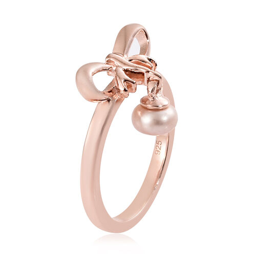 Fresh Water Pink Pearl (Rnd 5mm) Charm Bow Knot Ring in Rose Gold Overlay Sterling Silver