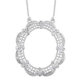0.50 Carat Diamond Necklace in Platinum Plated Sterling Silver 18 Inch