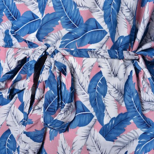One Time Deal-Blue, White and Pink Colour Leaves Printed Apparel with Adjustable Waistband (Size 70X60 Cm)