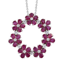 African Ruby (Pear), Natural Cambodian Zircon Pendant With Chain (Size 18) in Platinum Overlay Sterling Silver 6.360 Ct, Silver wt 6.56 Gms.