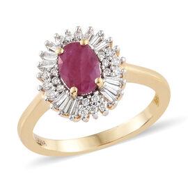 ILIANA 18K Yellow Gold AAA Burmese Ruby (Ovl 0.85 Ct) Diamond (SI/G-H) Ring  1.250  Ct.