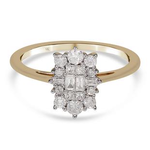 9K Yellow Gold SGL Certified Diamond (G-H/I3) Ring 0.50 Ct.