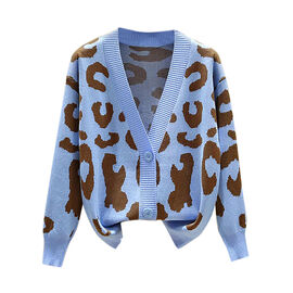 Kris Ana Animal Print Cardigan One Size (8-16) - Blue
