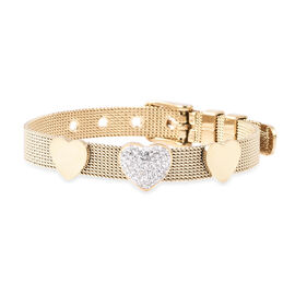 White Austrian Crystal Mesh Chain Heart Bracelet in Gold Plated Stainless Steel 6 to 7 Inch