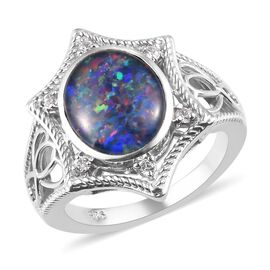 Boulder Opal and Cambodian Zircon Floral Ring in Platinum Plated Sterling Silver