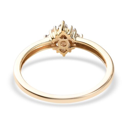 9K Yellow Gold SGL Certified Diamond (I3/G-H) Cluster Ring 0.20 Ct.