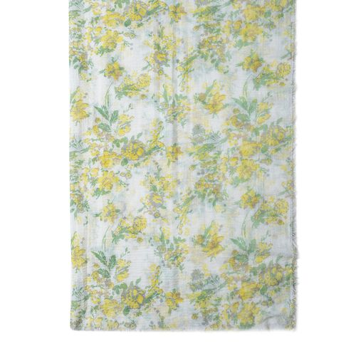 White, Yellow and Multi Colour Small Flower Pattern Scarf (Size 180x90 Cm)