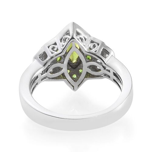 Russian Diopside (Mrq), Natural Cambodian Zircon Ring in Platinum Overlay Sterling Silver 1.000 Ct.