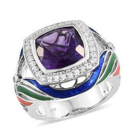 8 Carat Lusaka Amethyst and Multi Gemstone Halo Ring in Platinum Plated Silver 8.07 Grams