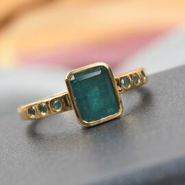 Grandidierite Main Stone With Surrounding Stone Ring in 14K Gold Overlay Sterling Silver 0.35 ct  1.