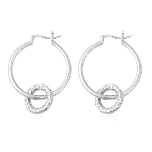 RACHEL GALLEY Allegro Collection - Rhodium Overlay Sterling Silver Mini Loop link Earrings (with Detachable Clasp), Silver wt 11.16 Gms