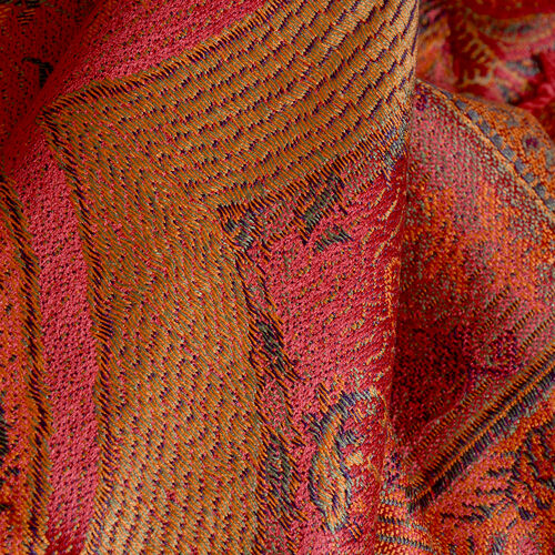 SILK MARK- 100% Superfine Silk Orange, Pink and Multi Colour Jacquard Jamawar Scarf with Fringes (Size 180x70 Cm) (Weight 125 - 140 Gms)