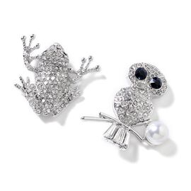 Set of 2 Simulated Pearl (Rnd), Simulated Diamond and Multi Colour Austrian Crystal Owl and Frog Brooch in Silver Tone