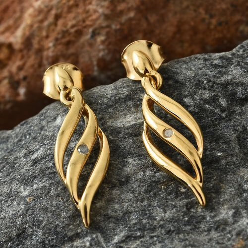Diamond Earrings in Gold Plated Silver (with Push Back)