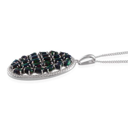 Simulated Black Opal (Ovl) Cluster Pendant With Chain in Platinum Overlay Sterling Silver 3.250 Ct.