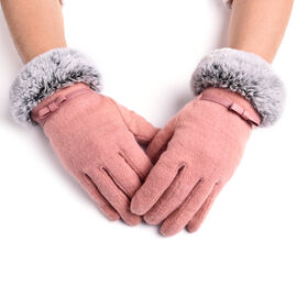 Solid Pink Cashmere Gloves with Bowknot Detail and Grey Faux Fur Trim