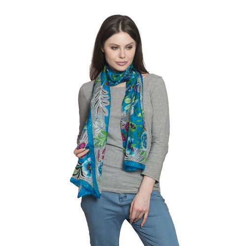 100% Mulberry Silk Blue, Green and Multi Colour Floral and Leaves Hand Screen Printed Scarf (Size 17