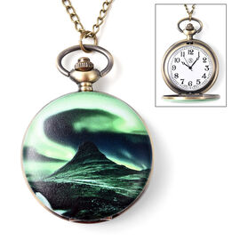 STRADA Japanese Movement Northern Lights Pattern Water Resistant Pocket Watch with Chain (Size 31) i