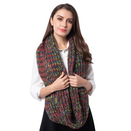 Grey and Multi Colour Infinity Scarf (Size 71x35 Cm)