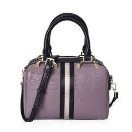 100% Genuine Leather Purple Colour Litchi Pattern Tote Bag (Size 22x11x15 Cm) with Detachable Should