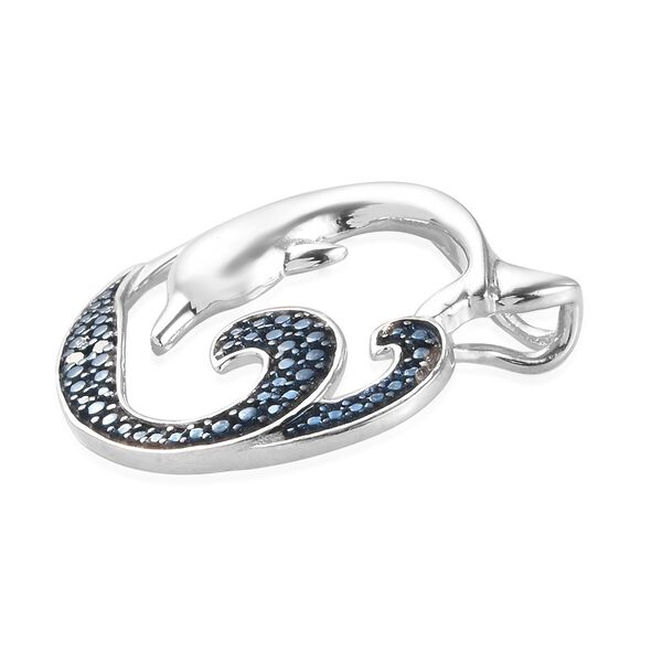 Blue Diamond  Dolphin Pendant in Blue and Platinum Overlay Sterling Silver 0.020 Ct.