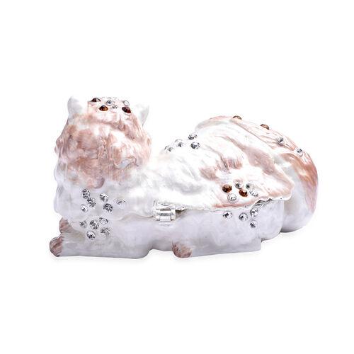 Multi Austrian Crystal Studded Enamelled Cat Trinket Box