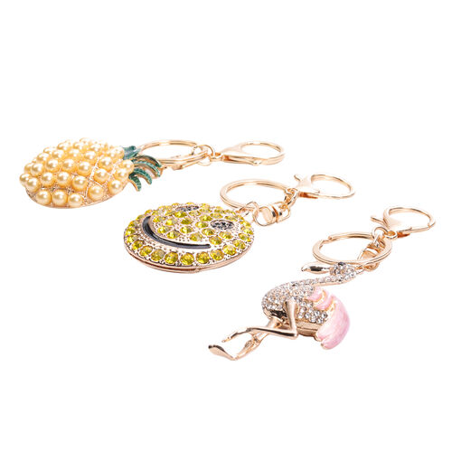 3 Piece Set - Black, White and Yellow Austrian Crystal, Simulated Pearl Pineapple, Swan and Smiley Enamelled Keychain in Gold Tone