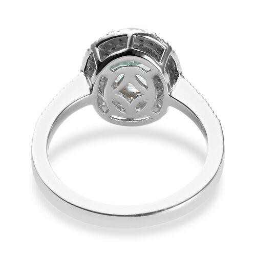 RHAPSODY 950 Platinum AAAA Mozambique Paraiba Tourmaline (Ovl 8x6mm), Diamond (VS/E-F) Ring 1.58 Ct, Platinum wt 5.50 Gms