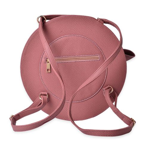 Dark Pink Colour Crossbody Bag with Adjustable Shoulder Strap for use as backpack (Size 27.5x17x7 Cm)