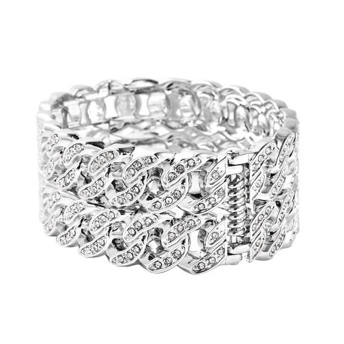 Designer Inspired - White Austrian Crystal Curb Bangle  (Size 6.5) in Silver Tone