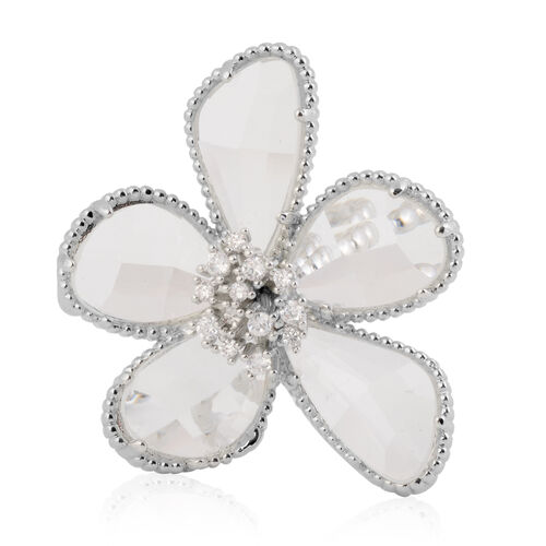 Simulated Diamond Floral Ring in Silver Tone