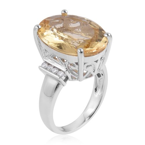 Rare Size Citrine (Ovl 20x15mm), Natural White Cambodian Zircon Ring in Platinum Overlay Sterling Silver 16.250 Ct. Silver wt 6.51 Gms.