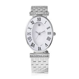 STRADA Japanese Movement White Austrian Crystal Studded Water Resistance Cuff Bangle Watch (Size 6.5