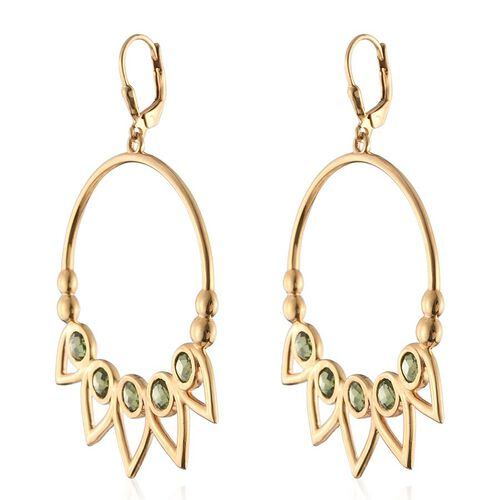 Kimberley Lotus Spice Collection - Hebei Peridot (Rnd) Lever Back Earrings in 14K Gold Overlay Sterling Silver 6.500 Ct.