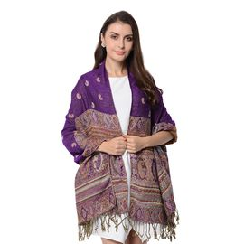 Purple and Multi Colour Paisley Pattern Tassel Scarf (Size 66x180+9 Cm)