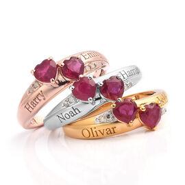 Personalised Engravable Double Heart Ruby Ring in Silver