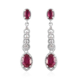 African Ruby and Natural Cambodian Zircon Dangle Earrings (with Push Back) in Platinum Overlay Sterl