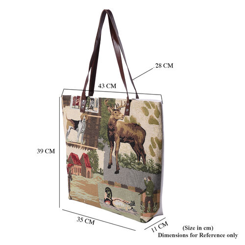 Dog, Deer, House and Duck Pattern Large Tote Bag (Size 35x11x39 Cm) - Beige, Red and Multi