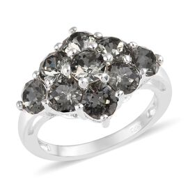 J Francis - Crystal from Swarovski Black Diamond Crystal (Rnd) Cluster Ring in Sterling Silver