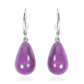 Phosphosiderite Bead Drop Lever Back Earrings in Rhodium Overlay Sterling Silver 22.50 Ct.