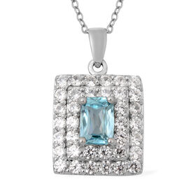 2.67 Ct Blue Zircon and Zircon Double Halo Pendant with Chain in Rhodium Plated Silver