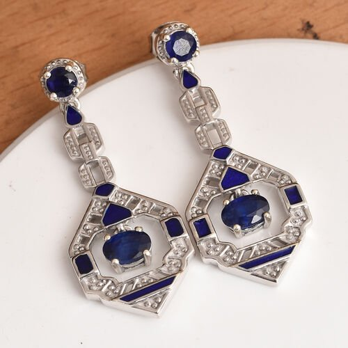 Masoala Sapphire Enamelled Earrings (with Push Back) in Platinum Overlay Sterling Silver 2.58 Ct, Silver wt 6.40 Gms