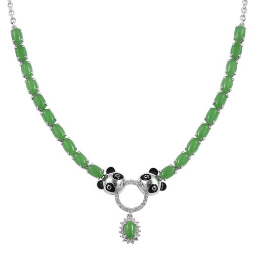 Green Jade (Ovl), Boi Ploi Black Spinel and Natural White Cambodian Zircon Enameled Panda Head Neckl