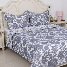 3 Piece Set -  Reversible Pique with Jacquard Floral Pattern Blue (Size 260x240 Cm) and 2 Pillow Cov