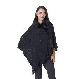 Chevron Pattern Faux Fur Collar Poncho with Tassels (Size 70x65 Cm) Colour Black