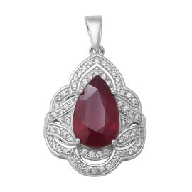 African Ruby (Pear 14x9 mm), Natural White Cambodian Zircon Pendant in Rhodium Overlay Sterling Silv